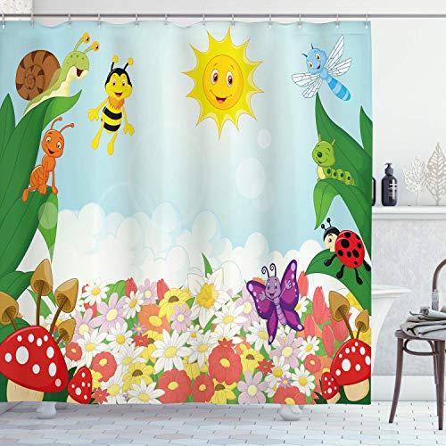 N \ A Tier-Duschvorhang, Biene, Schmetterling, Ameise, Marienkäfer, Schnecke, Floral, Pilz, Raupe, Baby, Tier, Frühlingsbild, Stoffstoff, Badezimmer-Dekor-Set mit Haken, 183 x 183 cm, grün-gelb