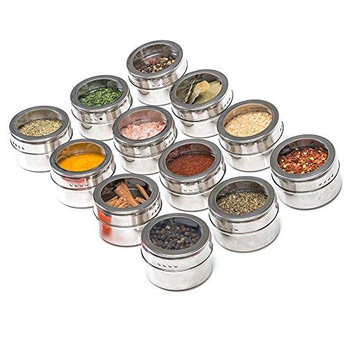 Eamqrkt Lot de 12 pots à épices magnétiques visibles en acier inoxydable