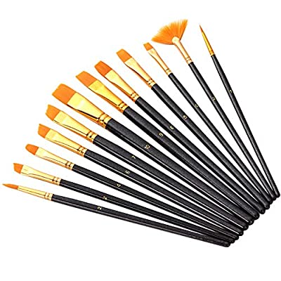 Acrylic Paint Brushes Set, 12 PCS Round Pointed Tip Artist Paintbrushes Nylon Hair Fan Brushes for Oil Watercolor Painting, Nail Art, Face Body Model Paint, Miniature Detailing Classroom Starter
