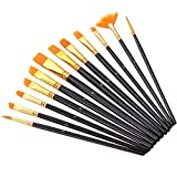 Paint Brushes,12 PCS Acrylic Round Pointed Tip Artist Paintbrushes Nylon Hair Fan Brushes for Oil Watercolor Painting, Nail Art, Face Body Model Paint, Miniature Detailing Classroom Starter