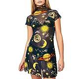 COZOCO Vestido Corto de Noche con Estampado de ángel, Vestido de Noche con Estampado de ángel Vestido Sexy de Malla con Cuello Redondo para Mujer(Negro,S)