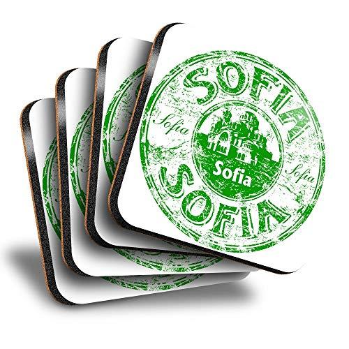 Destination Vinyl ltd Great Posavasos cuadrados (juego de 4) – Sofía Bulgaria sello de viaje bebida brillante posavasos/protección de mesa para cualquier tipo de mesa #5915