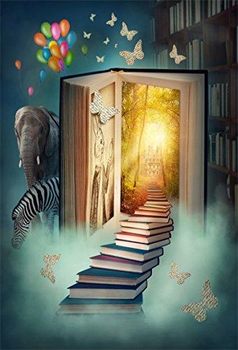 AOFOTO 5x7ft Fantastic Magic Books Backdrop Fairy Tale Photography Background Bookshelf Animals Kid Girl Little Boy Artistic Portrait Dreamy Photo Shoot Studio Props Video Drop Vinyl Wallpaper Drape