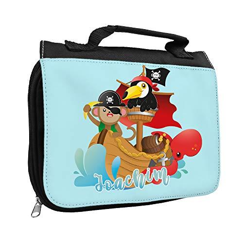 Kulturbeutel mit Namen Joachim und Tier Piraten-Motiv | Kulturtasche mit Vornamen | Waschtasche für Kinder