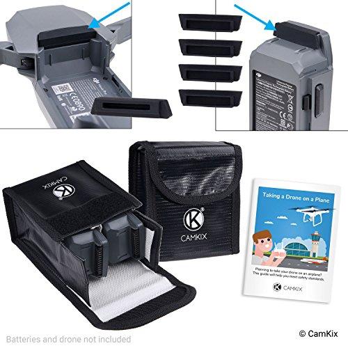 CamKix® reis-veiligheidspack compatibel met DJI Mavic Pro/Platinum - voor 4 accu's - 2 x LiPo-veiligheidstas, 4 x batterijdeksel, 1 x oplaadaansluiting en reisinstructies - ideale bescherming