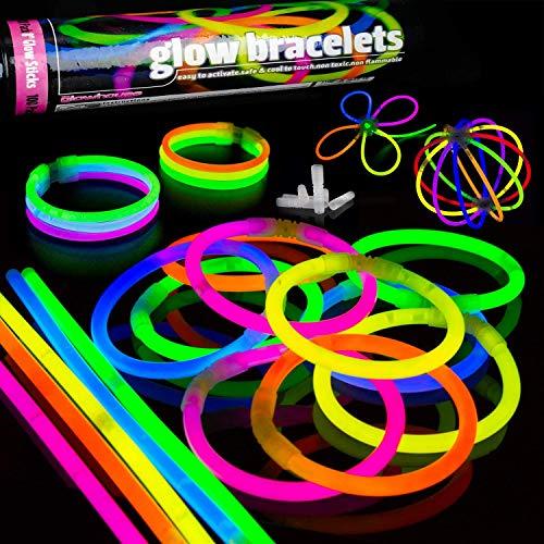 YIQI Palos Luminosos, Paquete de 100 Barras Luminosas de 8.0 in con Conectores para Pulseras, Bolas, Juguetes Luminosos para Suministros Luminosos para Fiestas (Colores Mezclados)