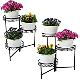 Sunnydaze 3-Tiered Metal Plant Stand, Indoor/Outdoor Flower Pot Holder, 22-Inch Tall, Set of 2, Black