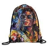CHSUNHEY Turnbeutel,Sporttaschen,Mike Jackson Art Painting Eco-Friendly Luggage Drawstring Backpack...