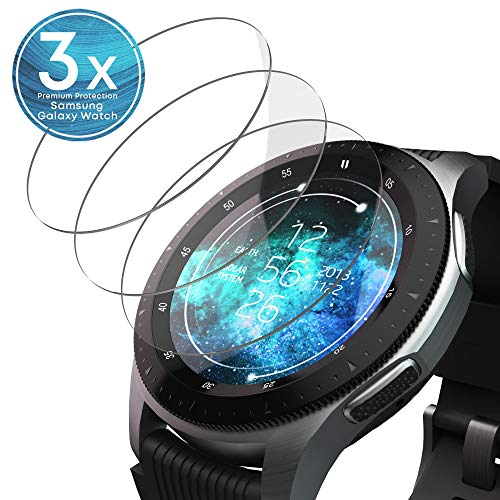 UTECTION 3X Schutzglas Folie für Samsung Galaxy Watch 46mm / Gear S3 Frontier / S3 Classic - Display Glasfolie Anti Kratzer - Schutzfolie, Displayschutzfolie aus Glas - Passgenaue Schutzglasfolie