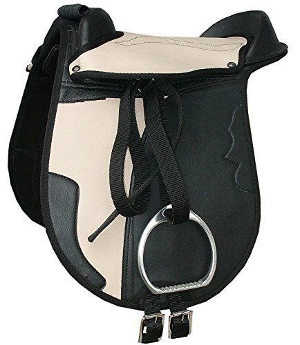 Reitsport Amesbichler AMKA Kinder Pony Reitkissen Set Juna schwarz/beige 10 mit Steigbügel, Steigbügelriemen und Sattelgurt auch für Holzpferde geeignetes Sattelset