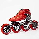 Patines - Patines de alta fila profesional para adultos profesionales de alto rendimiento con correas seguras Straps de fibra de carbono Patines de patín de fibra de carbono Zapatos de patinaje de vel