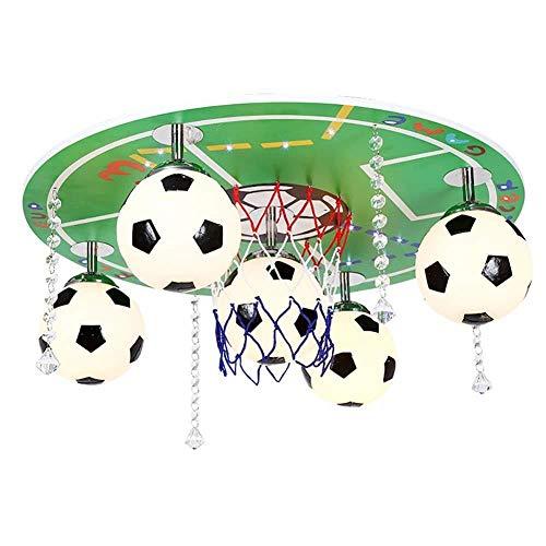 Plafondlamp Kinderkroonluchter, Voetbal Plafond Lamp LED Oogbescherming Cartoon Lamp Voor Jongens Kamer/Kleuterschool Grootte: 55 × 20Cm