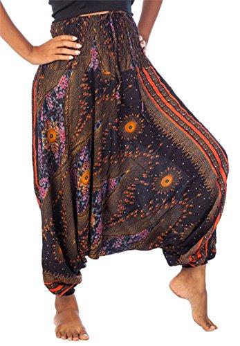 Lofbaz Damer 2 i 1 haremsbyxor och jumpsuit med krympt midjeband