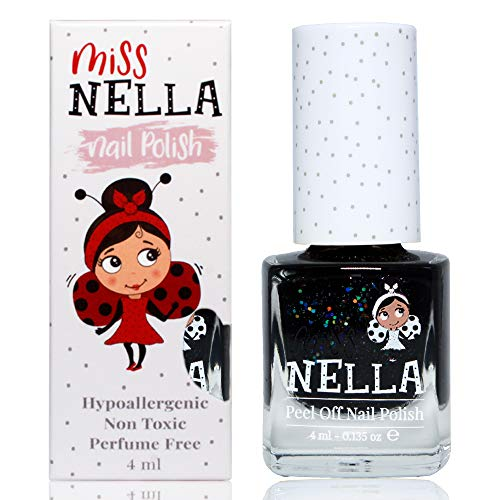 Miss Nella SURPRISE PARTY- Spezieller schwarz Nagellack mit Glitzer für Kinder, Peel-Off-Formel, wasserbasiert und geruchsneutral