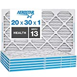 Aerostar Home Max 20x30x1 MERV 13 Pleated Air Filter, Made in the USA, Captures Virus Particles, (Actual Size: 19 3/4' x 29 3/4' x 3/4'), 6-Pack