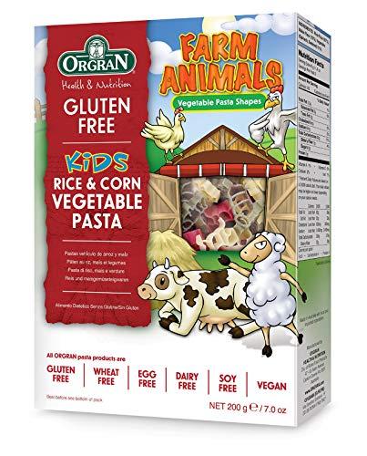 OrgraN Rice & Corn Vegetable Pasta, Multi-Color Animal Shapes, 7 Ounce Box