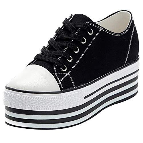 Jamron Mujer Suela Doble Plataforma Alta Zapatos de Lona Tacón de Cuña Baja con Cordones Enredaderas Zapatillas de Deporte de Moda Negro 627-1 EU36