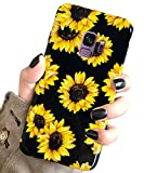 J.west Galaxy S9 Case, S9 Case Luxury Sparkle Cute Case for Girls Bling Pattern Slim Flexible Clear Shockproof TPU Soft Rubber Silicone Cover Protective Phone Case for Samsung Galaxy S9 (Sunflowers)