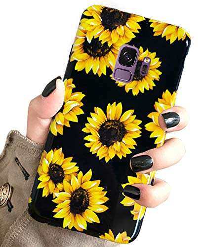 J.west Galaxy S9 Case, Vintage Floral Cute Yellow Sunflowers Black Soft Cover for Girls/Women Flex TPU Silicone Slim Fashion Design Pattern Sturdy Drop Protective Case for Samsung Galaxy S9 Sunflowers