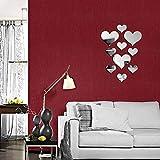 20 pezzi di cristallo amore cuore specchio adesivi murali, acrilico 3D decalcomanie della parete di arte fai da te casa soggiorno bagno TV sfondo Decor, 10 pezzi / lot(Argento 1)