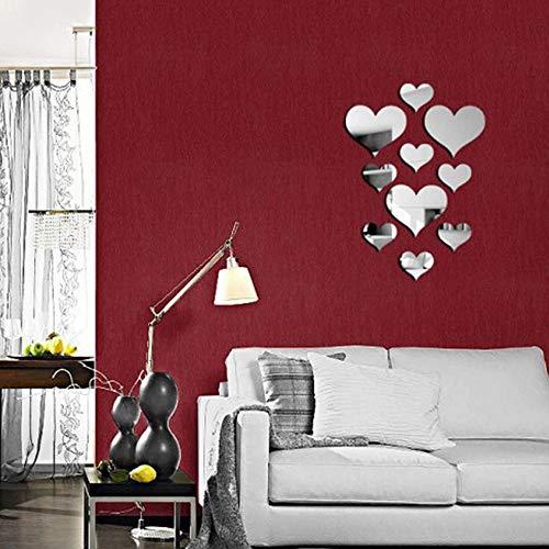 20 Stücke Kristall Liebe Herz Spiegel Wandaufkleber, Acryl 3D DIY Kunst Wandtattoos Home Wohnzimmer Badezimmer TV Hintergrund Dekor, 10 Teile/los (Silber)