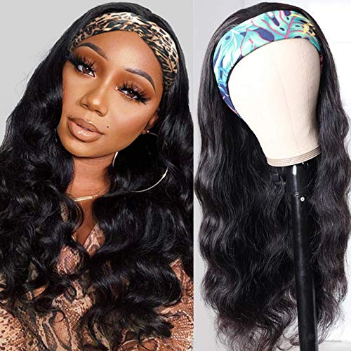 Aisaide Long Wavy Body Wave Curly Headband Wigs for Black Women Curly Synthetic Headband Wig Scarf Long Deep Wave Black Hair Wig with Headband Attached Ice Silk Turban Wig Half Non Lace Wig Synthetic
