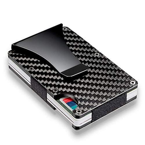 Qewmsg Men Card Holder Slim Carbon Fiber Credit Card Holder Metal Wallet Money Clip
