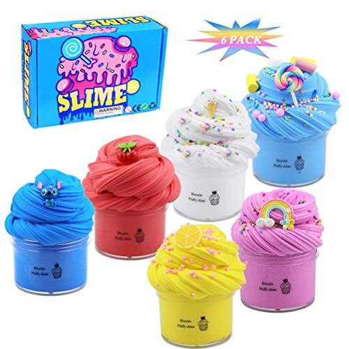 Bestevery 6 Pack Schleim Slime Kinder Putty Spielzeug Geschenke, DIY Slime kit, superweichem und Nicht klebrigem, 6 Farben Flauschige Schleim Slime, Schaum Bälle für Kinder Geschenke mädchen