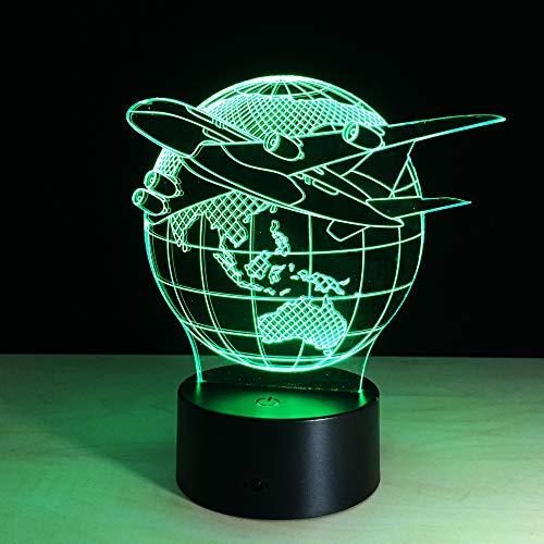 BFMBCHDJ Fliegen Sie die Welt Erde Globus Flugzeug 3D LED Lampe Kunst Skulptur Lichter in Farben 3D Optical Illusion Lampe mit Touch-Taste