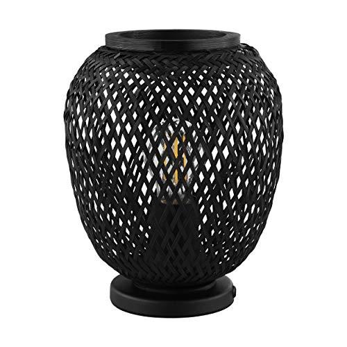 EGLO Tischlampe Dembleby 1, 1 flammige Tischleuchte Vintage, Natur, Hygge, Nachttischlampe Holz Korb geflochten in Schwarz, Lampe mit Schalter, Stahl, E27 Fassung, 43267