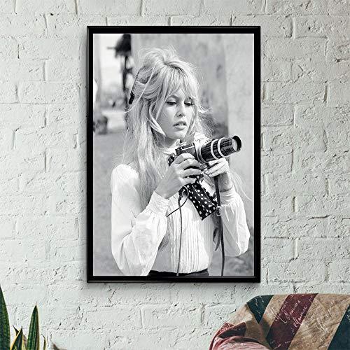 Brigitte Bardot Cartel de la moda francesa Blanco y negro Modelo famoso Foto Imagen Arte Pintura Decoración de la pared Impresiones de la lona 60x90CM SIN marco