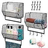 X-cosrack 3Pcs Hanging Metal Wire Basket Towel Rack Bathroom Holder Kitchen Magazine Mail Rack Fruit Organizer with Wall Mounted Bath Towel Bar Set(3 Pieces)