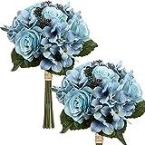 Fiori artificiali, bouquet di fiori artificiali, set di 2 bouquet di ortensia, altezza 30 cm, pianta decorativa per composizioni, tavola o matrimonio