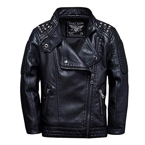SXSHUN Jungen Flaumgefüttert Lederjacke aus Kunstleder Kinder Mädchen Motorradjacke Warm Outwear Kleidung Mantel, Schwarz, 152 (Etikettengröße:160)