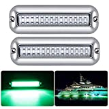 Kawell 42LED Boat Lights, Waterproof IP68 Stainless Steel Underwater Pontoon Marine Light Stern Boat Navigation Lights Drain Fish Boat Transom Lights(Green 2pcs)