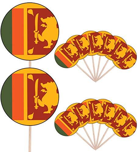 Sri Lanka Vlag Partij Voedsel Cake Cupcakes Picks Sticks Vlaggen Opstaan Decoraties Toppers (Pak van 14)