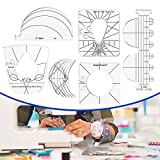 6Pack Quilting Template Sewing Machine Ruler Acrylic DIY Sewing Tools Kit Free Motion Quilting Grip Template Rulers Includes Spiral, Arc, Clamshell, Simple Circle
