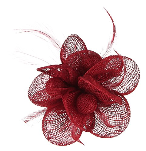 MARRYME Bibi Mariage Femme Pince à Cheveux Fleur Serre-tête Chapeau pour Cocktail Soirée Rouge