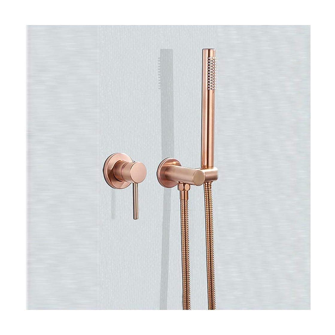 受け取る彼らは免除する隠されたマウントされた浴槽の蛇口と冷水と温水真鍮の浴槽の蛇口セットシングルハンドル多機能シャワーミキサータップハンドヘルドシャワー,Rose gold