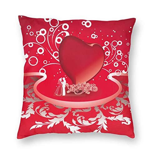 Lawenp Fundas de Almohada cuadradas, 18 'x 18' Matrimonio, Amor, Matrimonio Fundas de Cojines Decorativos Funda para sofá Sofá Decoración del hogar