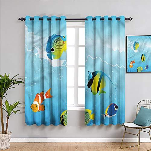 Xlcsomf Ocean - Cortina para niños, 213 cm de largo, color azul marino, para sala de estar o dormitorio, 213 cm de ancho x 84 cm de largo