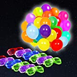 POKONBOY Glow in the Dark Party Supplies, 50 Pack LED Light Up Balloons & 12 Pack LED Glasses, Neon Party Supplies for Birthday Wedding Festival Christmas Decorations (Mixed Color)