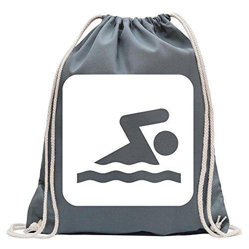 Kiwistar - Schwimmbereich Piktogramme Turnbeutel Fun Rucksack Sport Beutel Gymsack Baumwolle mit Ziehgurt