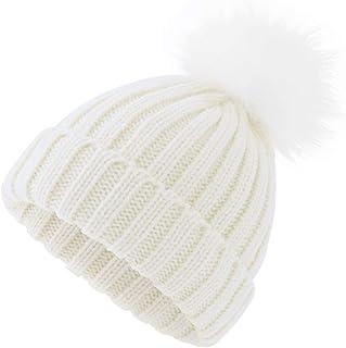 Women Winter Pompoms Beanie Hat Warm Acrylic Knit Hat with Cut Pom pom Ski  Cap for 5c66782efe3c