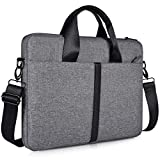 15.6 Inch Laptop Sleeve Shoulder Bag Waterproof Briefcase Handbag for HP Envy X360/Pavilion 15.6, Acer Aspire/Chromebook 15, Dell Inspiron 15, Lenovo Yoga 730 15.6, ASUS MSI 15.6 Carrying Case, Gray