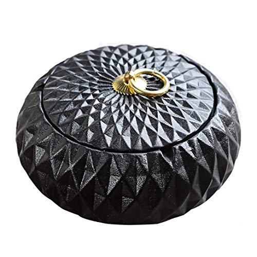 AMITP 2019 Cenicero de Puros con Tapa para Exterior, cerámica, decoración, apartamento, pequeño, Redondo, 11 x 8 mm, Goldendiamond