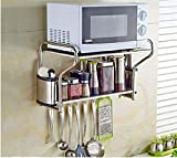 INTBUYING 2 Layer Stainless Steel Kitchen Storage Organization Microwave Oven Wall Mount Shelf With Removable Hooks