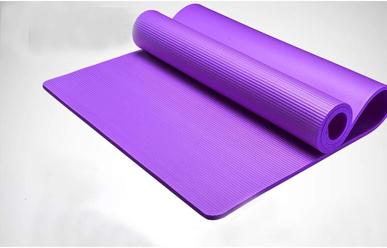 ASJHK Yoga Ball Thickening ExplosionProof 10mm Widening 80cm Yoga Mat Slimming Pull Women's Combination Set Yoga mat (color   Purple, Size   10mm)