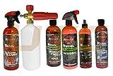 UTC 6 Pcs Rebel Wash Wax Kit Chrome Restore Polish Leather Spray Odor Neutralizer Interior & Exterior Detailer Pro Chrome Polish Swirl Oxidation Removal