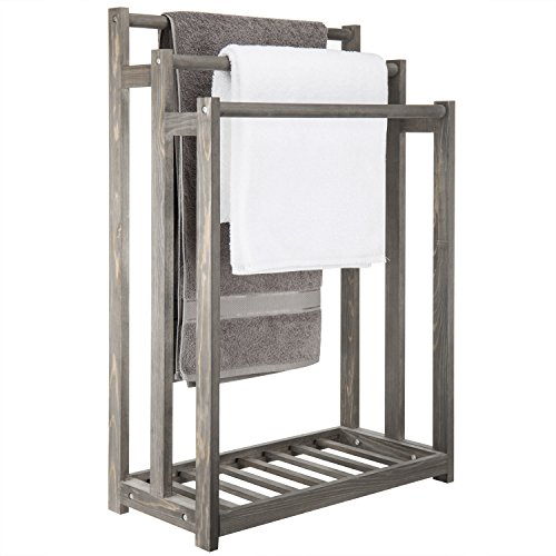 MyGift 3-Bar Wood Grey Towel Rack with Bottom Shelf